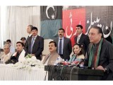 Asif Zardari speaks at a reception of party workers in Islamabad. PHOTO: INP