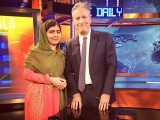 Malala Yousafzai appeared on The Daily Show with Jon Stewart and the theatrical trailer for a new documentary, 'He Named Me Malala' was released.PHOTO: INSTAGRAM (THEDAILYSHOW)