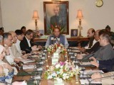 Prime Minister Nawaz Sharif attending a high level meeting in Karachi on Wednesday. PHOTO: PID