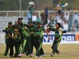 Pakistan women cricket team celebrate their victory during the women's cricket final against Bangladesh at the Yeonhui Cricket Ground during the 17th Asian Games in Incheon on September 26, 2014. PHOTO: AFP