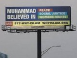 "The billboard displays the message, ""Muhammad (pbuh) believed in peace, social justice, women's rights"". PHOTO: NORTH JERSEY"