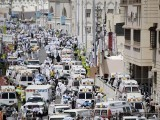 Saudi ambulances bring victims to an emergency hospital in Mina. PHOTO: AFP