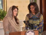 "Maryam Nawaz Sharif speaking at ""Let Girls Learn"" event hosted by US First Lady Michelle Obama at the White House. PHOTO: TWITTER (pmln_org)"