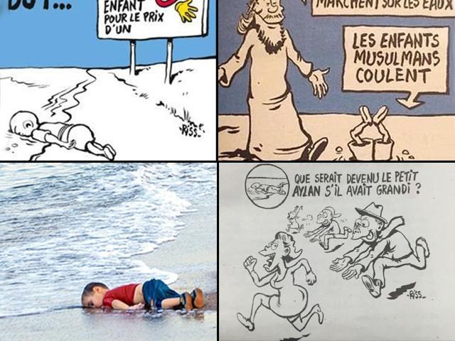 Is Charlie Hebdo's most recent Aylan Kurdi cartoon genuinely