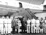 Crew of a PIA Super Constellation (AP-AJZ) led by Capt. Raja Zia with Thailand's royal couple at Dacca Airport, East Pakistan, on March 21, 1962. PHOTO: AHMED SAEED SIDDIQI'S COLLECTION