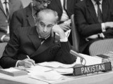 Foreign Minister Zulfikar Ali Bhutto at the United Nations Security Council meeting in 1971. PHOTO: BHUTTO.ORG