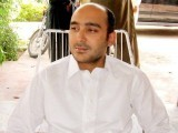 Ali Haider Gilani at a meeting prior to his abduction by gunmen during his election campaign. PHOTO: AFP