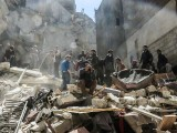 People search for survivors from the rubble following reported air-strikes on the rebel-held town of Saqba. PHOTO: AFP