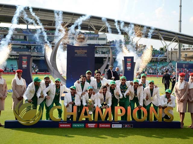 The Victorious Pakistan Team Lift Champions Trophy India V Final 2017 Oval London June 18 PHOTO GETTY IMAGES
