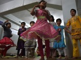 Orphaned children play at the Edhi Foundation in Karachi. PHOTO: AFP