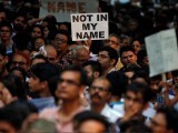 People protest against the recent cases of mob lynching of Muslims who were accused of possessing beef, in New Delhi, India, June 28, 2017. PHOTO: REUTERS
