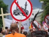 Members of the right-wing organisation Pro Cologne protest against plans to build a new mosque in the Cologne in 2007. PHOTO: AFP