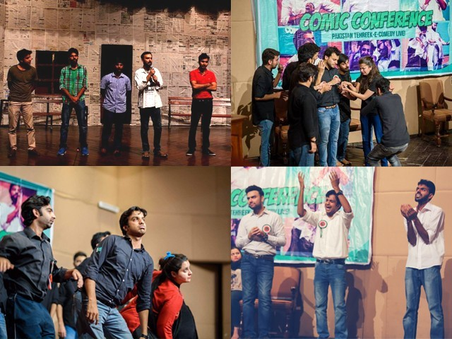 Calling themselves Pakistan Tehreek-e-Comedy (Movement for Comedy), an apt name given their genre, they commenced performing at the Alhamra Arts Council in Lahore. PHOTO: FACEBOOK/ PAKISTAN TEHREEK-E-COMEDY