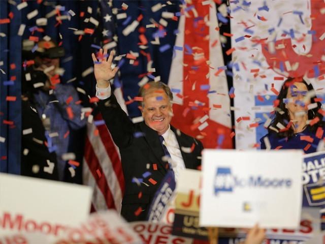 Democratic Alabama US Senate candidate Doug Jones acknowledges supporters at the election night party in Birmingham, Alabama, US, December 12, 2017. PHOTO: REUTERS