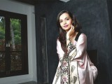 Aamina Sheikh wears a salmon pink draped, exquisite Gara embroidery kimono top by Shehla Chatoor for the YouMatter campaign. PHOTO: AMEAN J
