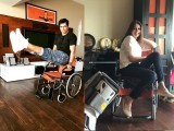 Some are shown singing on it, some posing on it, while one of the actors is shown doing a leg raise on the said wheelchair. PHOTO: INSTAGRAM/ FARAH KHAN KUNDER
