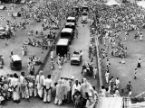 Muslims waiting to leave for Pakistan as they seek protected transport to Dot Purana Qila, an ancient fort in Pakistan, where many refugees had gathered in September 1947. PHOTO: GETTY