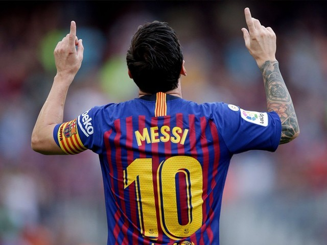 Lionel Messi of FC Barcelona celebrates during the La Liga Santander match between FC Barcelona v SD Huesca at the Camp Nou on September 2, 2018 in Barcelona Spain. PHOTO: GETTY