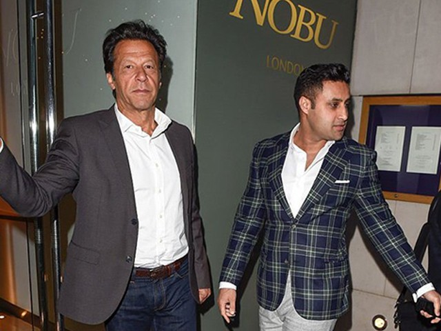 Imran Khan and Sayed Bukhari arrive at Nobu restaurant in London to host fundraiser Dinner for Imran Khan on April 16, 2016 in London, England.PHOTO: GETTY