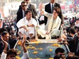 Congress President Rahul Gandhi and East Uttar Pradesh General Secretary Priyanka Gandhi Vadra during a roadshow from Chaudhary Charan Singh airport to the partys state headquarter, on February 11, 2019 in Lucknow, India. PHOTO: GETTY
