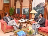 Chief Minister Punjab Sardar Usman Buzdar calls on Prime Minister Imran Khan at the PM Office Islamabad on March 18, 2019. PHOTO: PID
