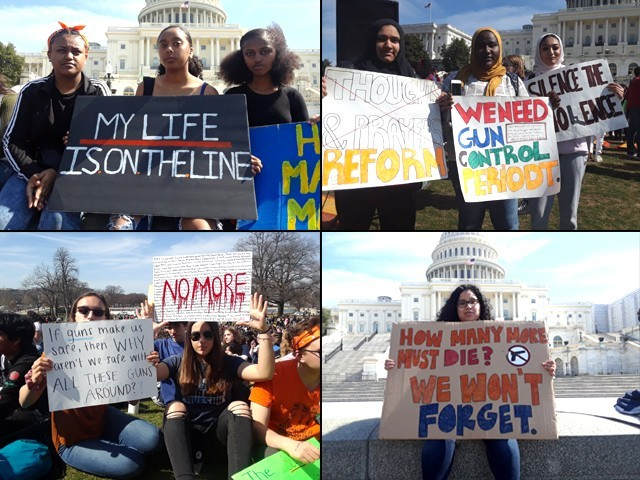 Students at the National School Walkout in front of the United States Capitol in Washington DC on March 14, 2019. PHOTO: SHAHEERA JALIL ALBASIT