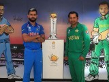 Virat Kohli and Sarfraz Ahmed pictured during a photo-call. PHOTO: GETTY