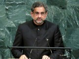 Pakistani Prime Minister Shahid Khaqan Abbasi addresses the 72nd United Nations General Assembly at U.N. headquarters in New York, U.S., September 21, 2017. PHOTO: REUTERS