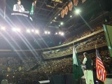 Prime Minister Imran Khan giving his speech at the Captial One arena in Washington during his US visit. PHOTO: TWITTER/ PTI