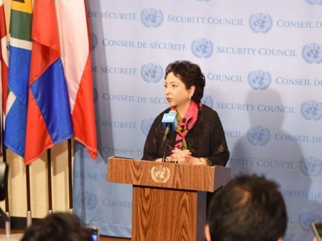 Pakistan's Ambassador to the UN Dr Maleeha Lodhi at the UNSC meeting. PHOTO: TWITTER