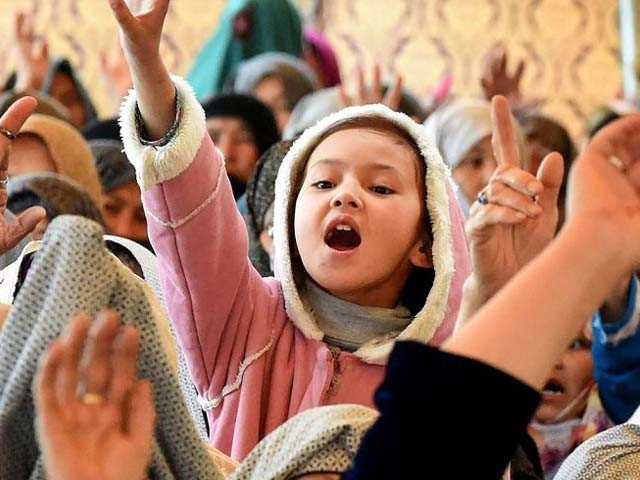 A young girl from Quetta during a sit-in. PHOTO: AFP