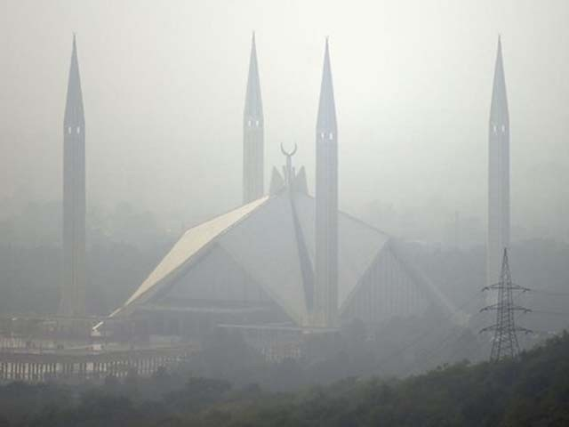 The grand Faisal Mosque covered in heavy smog in the Pakistan's capital of Islamabad. PHOTO: GETTY