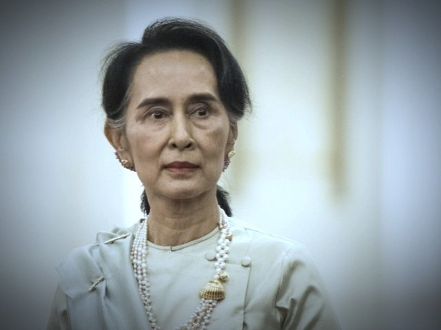 The Noble Peace Prize winner is representing Myanmar at the International Court of Justice. PHOTO:AFP
