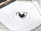 A few workers are seen nearby an empty Kaaba after the precautions against the novel coronavirus. PHOTO: AFP